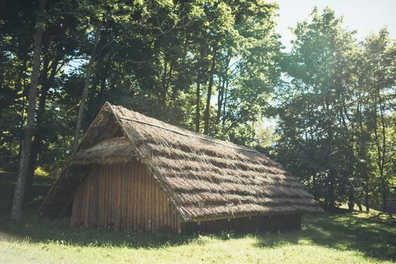 Burial mound exhibition and a Sone Age hut in Palūšė 1