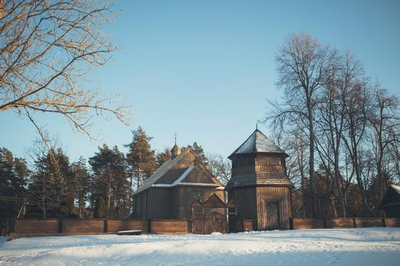 Wooden Palūšė Church with a bell tower 36