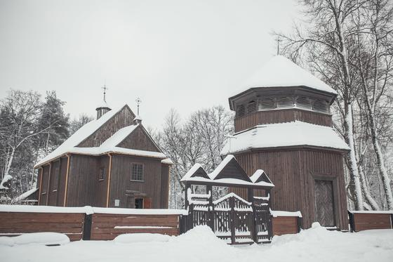Wooden Palūšė Church with a bell tower 7